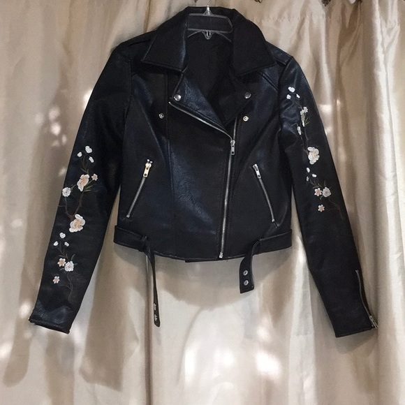 Jackets Coats Black Leather Jacket With Flowers Embroidered